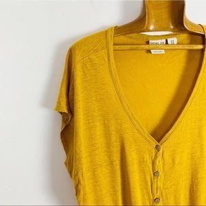 RACHEL ZOE Linen Tie Front ShortSleeve v neck top